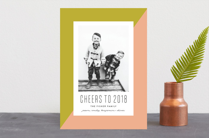 """On the Bias"" - Modern New Year Photo Cards in Olive by Erica Krystek."
