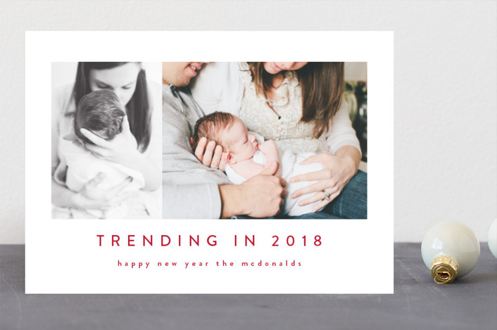 """trending in 2018"" - Funny New Year Photo Cards in Charcoal by Angela Garrick."