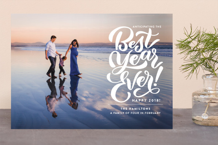 """""""The Best"""" - New Year Photo Cards in Frost by Laura Bolter Design."""