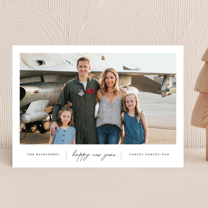 """""""Happiness"""" - New Year Photo Cards in Onyx by That Girl Press."""