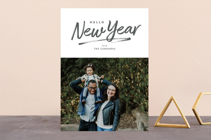 """Hello, New Year"" - New Year Photo Cards in Slate by Little Words Design."