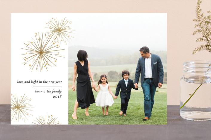 """Sparkler"" - Elegant New Year Photo Cards in Bronze by Laura Condouris."