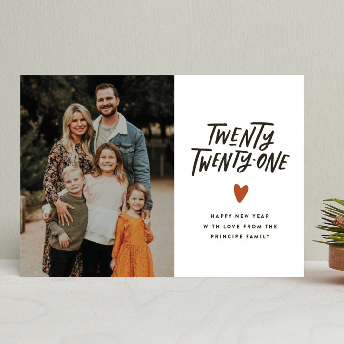 """""""Hand and Heart"""" - Bohemian New Year Photo Cards in Clementine by Up Up Creative."""