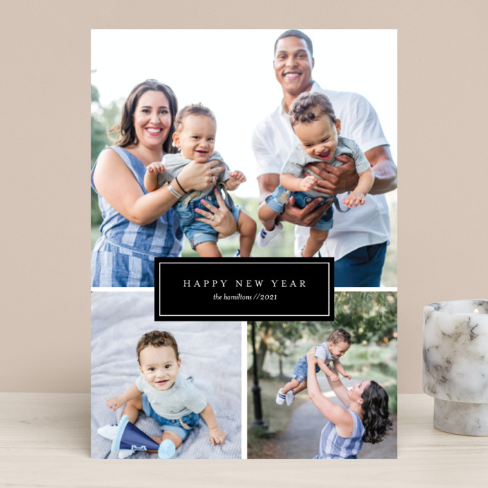"""""""Fine Line"""" - New Year Photo Cards in Onyx by Genna Cowsert."""