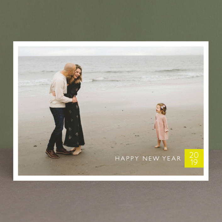 """Modern Year"" - Modern New Year Photo Cards in Citron by Erin Deegan."