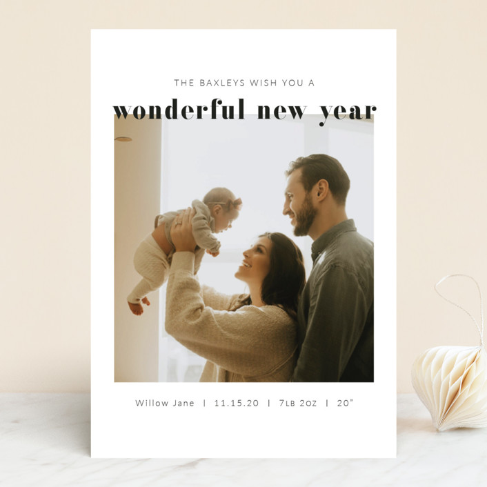 """""""Simply Wonderful"""" - New Year Photo Cards in Charcoal by Krissy Bengtson."""