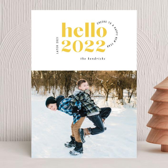 """Hello Yellow"" - Modern New Year Photo Cards in Lemon by Hooray Creative."