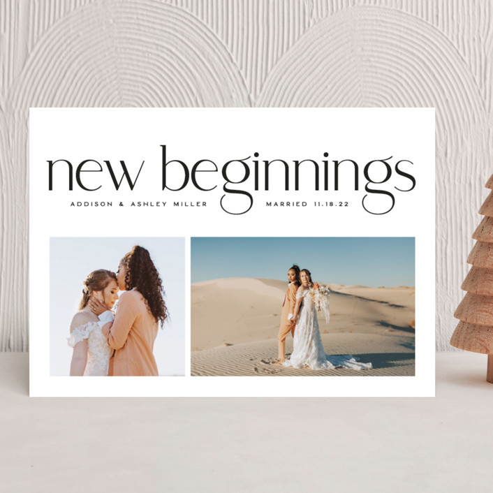 """""""New Beginnings"""" - New Year Photo Cards in Pearl by Owl and Toad."""