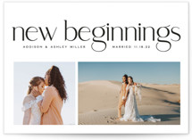 This is a black new year photo card by Owl and Toad called New Beginnings with standard printing on signature in standard.