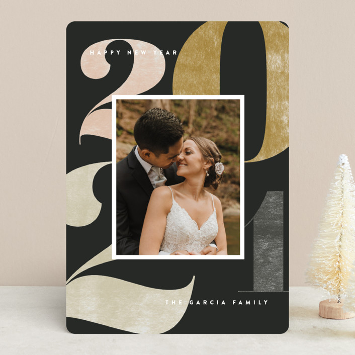 """""""Number Press"""" - New Year Photo Cards in Midnight by Amy Kross."""