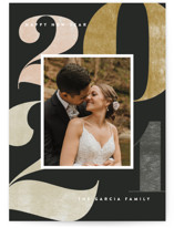 This is a black new year photo card by Amy Kross called Number Press with standard printing on smooth signature in standard.