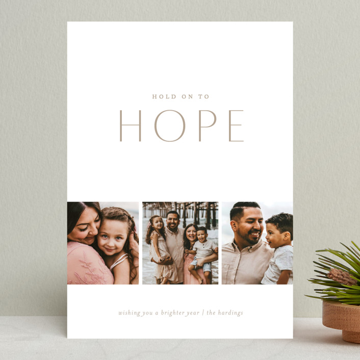 """Hold on to Hope"" - New Year Photo Cards in Natural by Erin L. Wilson."
