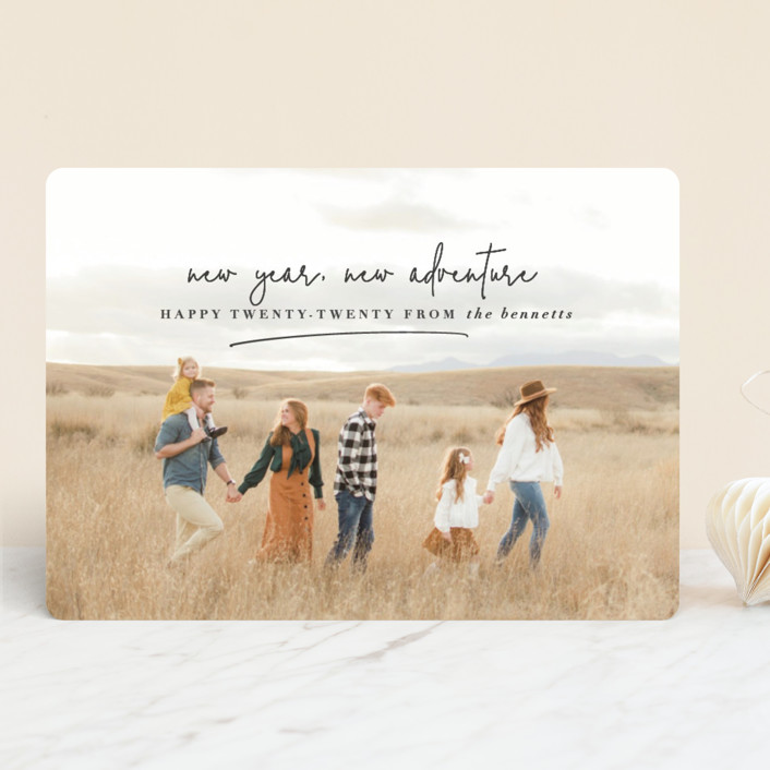 """""""new year, new adventure"""" - New Year Photo Cards in Charcoal by Stacy Cooke."""