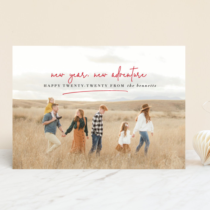 """""""new year, new adventure"""" - New Year Photo Cards in Cherry by Stacy Cooke."""