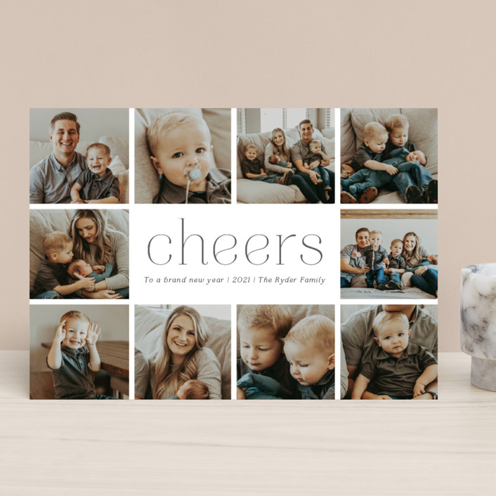 """""""A Simple Message"""" - New Year Photo Cards in Charcoal by Betsy Siber."""