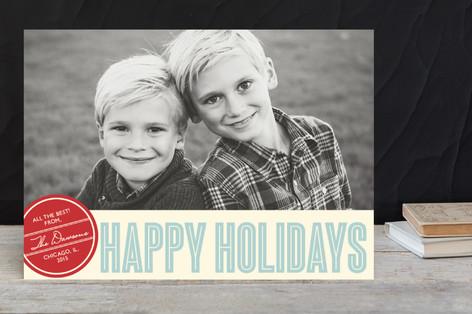 Retro Peace New Year Photo Cards