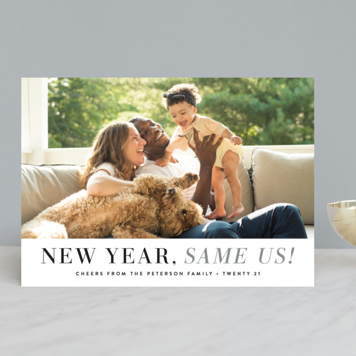"""""""New Year Same Us"""" - New Year Photo Cards in Mist by Hooray Creative."""