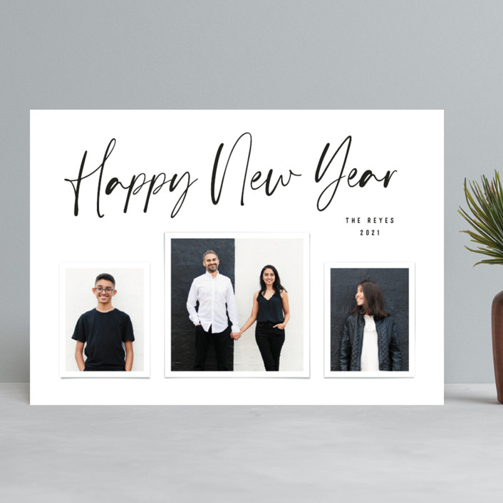 """""""Buoyant Script"""" - New Year Photo Cards in Snow by Hooray Creative."""