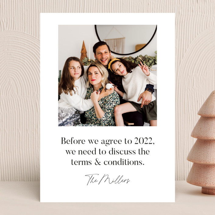 """""""Terms & Conditions"""" - New Year Photo Cards in Snow by Caitlin Considine."""