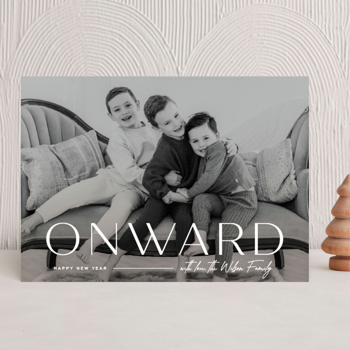 """""""Onward"""" - New Year Photo Cards in Icing by Owl and Toad."""