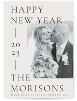 This is a grey new year photo card by letterfix called big new year with standard printing on recycled smooth signature in standard.