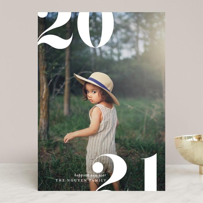 """Split"" - New Year Photo Cards in Linen by Erin Deegan."