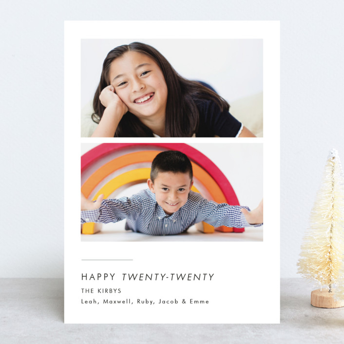 """""""Twin Cheers"""" - New Year Photo Cards in Snow by Erika Firm."""