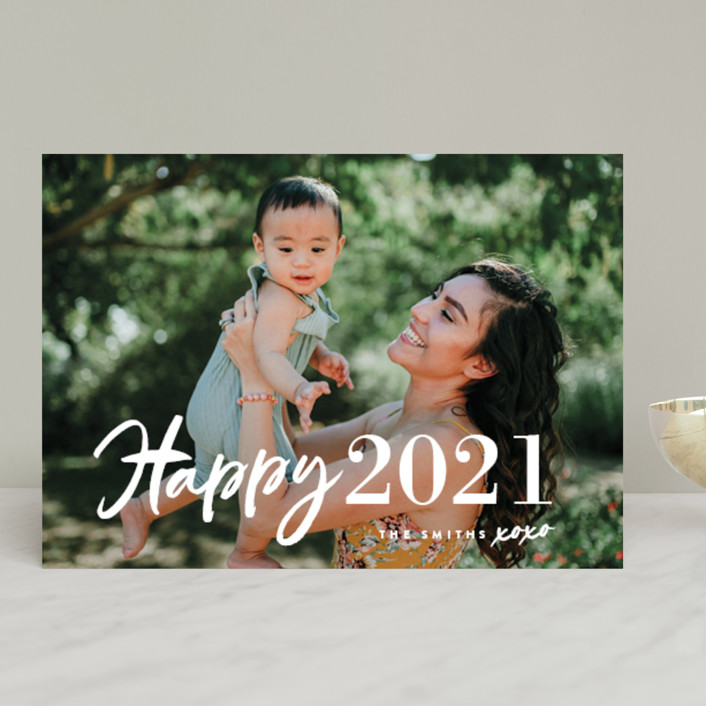 """""""New Year XOXO"""" - Modern New Year Photo Cards in Snow by Chryssi Tsoupanarias."""