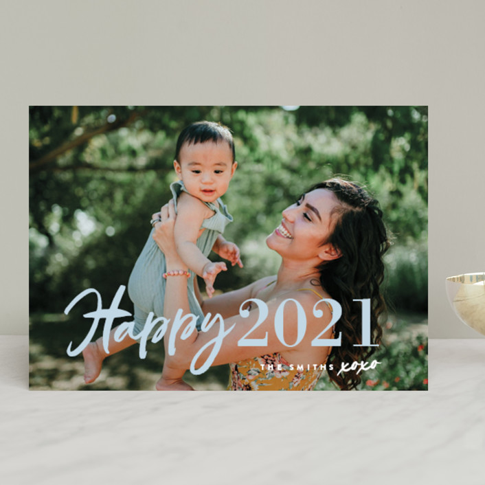 """New Year XOXO"" - Modern New Year Photo Cards in Snow by Chryssi Tsoupanarias."