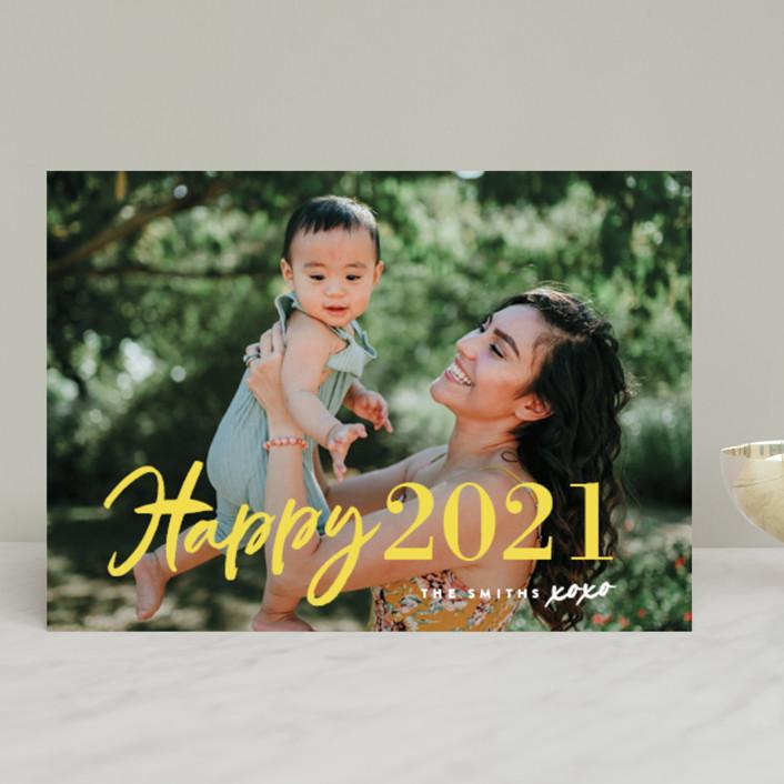 """New Year XOXO"" - Modern New Year Photo Cards in Lemon by Chryssi Tsoupanarias."