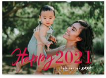 This is a pink new year photo card by Chryssi Tsoupanarias called New Year XOXO with standard printing on smooth signature in standard.