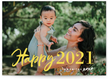 This is a yellow new year photo card by Chryssi Tsoupanarias called New Year XOXO with standard printing on smooth signature in standard.