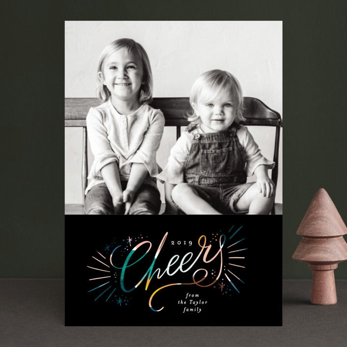 """Cheers glow"" - Modern New Year Photo Cards in Midnight by Alethea and Ruth."