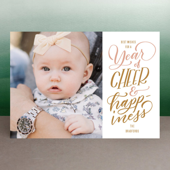 """""""Cheer and Happiness"""" - New Year Photo Cards in Blush by Leah Bisch."""