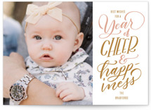 This is a pink new year photo card by Leah Bisch called Cheer and Happiness with standard printing on smooth signature in standard.