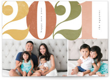 This is a orange new year photo card by peony papeterie called Big & Bold with standard printing on signature in standard.