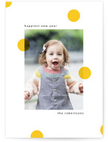 This is a yellow new year photo card by Iveta Angelova called Sunshine Polka Dots with standard printing on signature in standard.