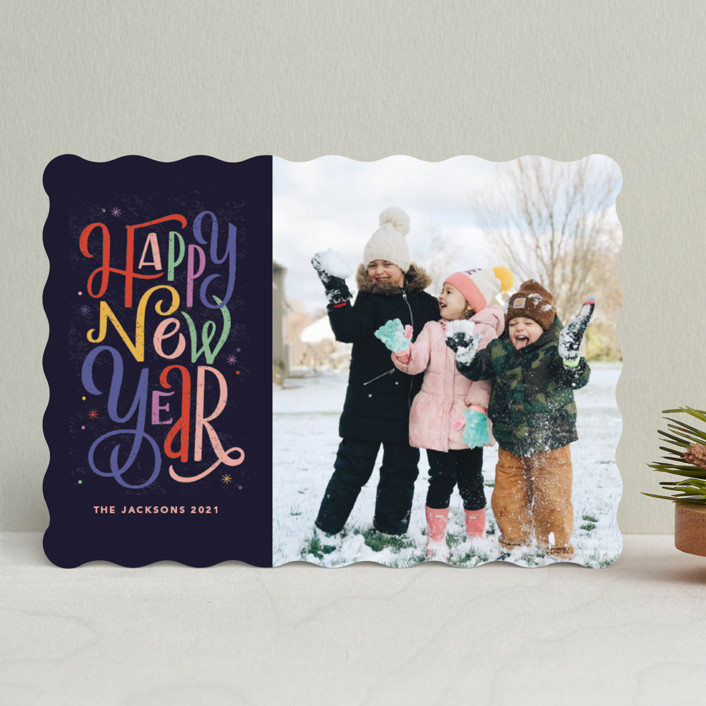 """retro letters"" - New Year Photo Cards in Midnight by Kristen Smith."