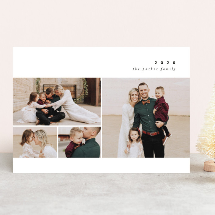 """""""Simple New Year"""" - New Year Photo Cards in Licorice by peony papeterie."""