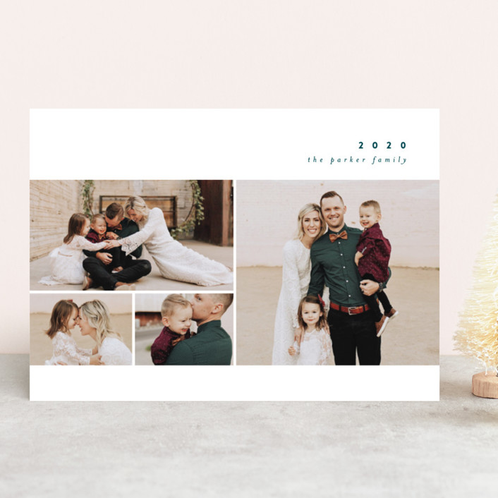 """Simple New Year"" - New Year Photo Cards in Teal by peony papeterie."