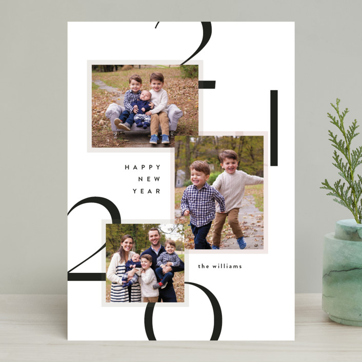"""""""Modern Layers"""" - New Year Photo Cards in Snow by Robert and Stella."""