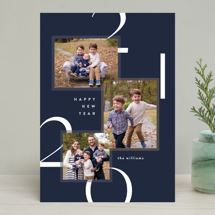"""Modern Layers"" - New Year Photo Cards in Navy by Robert and Stella."