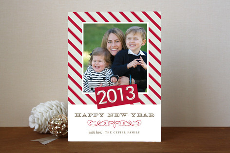 Striped Joy New Year Photo Cards