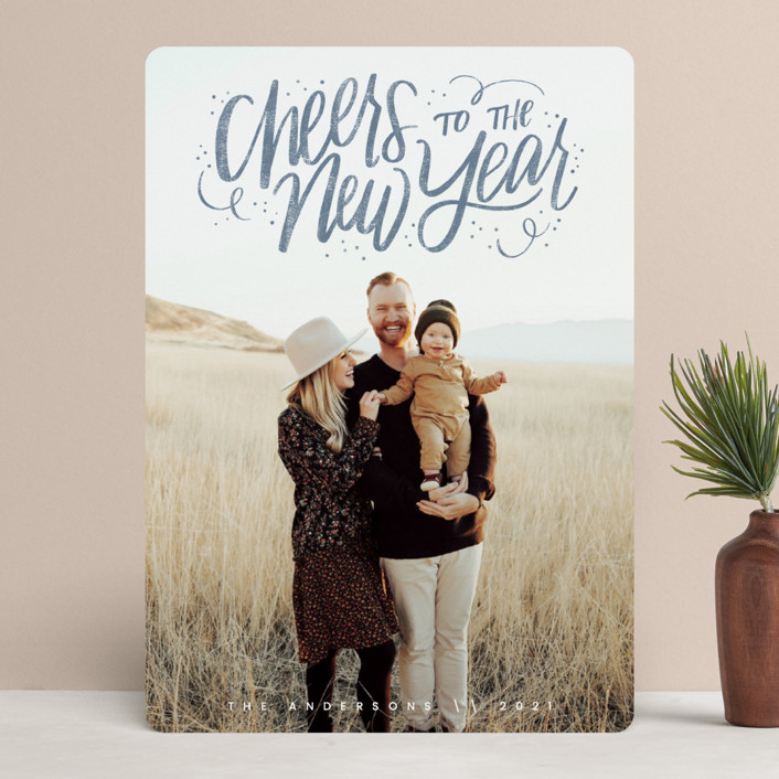 """Cheerful Lettering"" - Bohemian New Year Photo Cards in Frost by Cindy Reynolds."