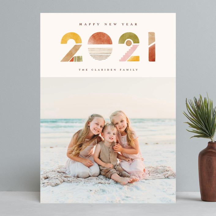 """""""Watercolors"""" - Modern New Year Photo Cards in Sunrise by Vivian Yiwing."""