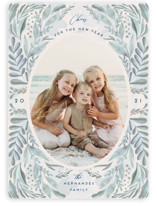 This is a blue new year photo card by Chris Griffith called Oceans 21 with standard printing on smooth signature in standard.