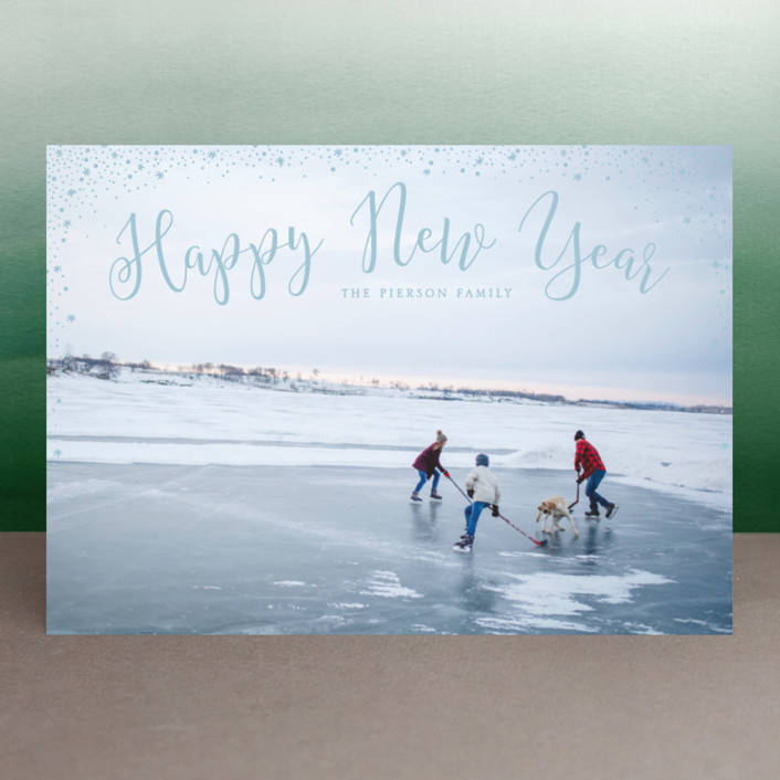 """sparkle sparkle"" - New Year Photo Cards in Cornflower by Erin Deegan."