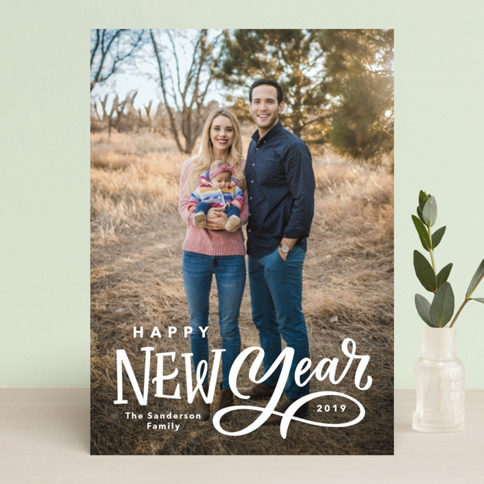 """Lettered New Year"" - New Year Photo Cards in Milk by Kristen Smith."