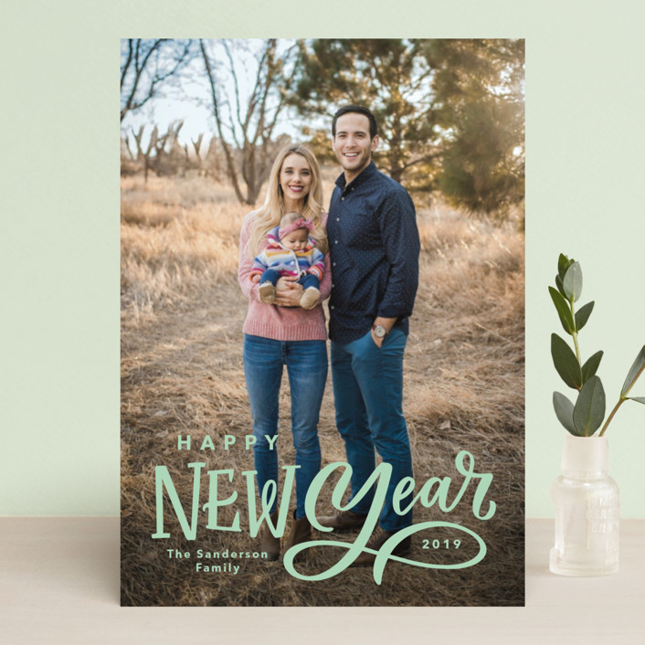 """""""Lettered New Year"""" - New Year Photo Cards in Milk by Kristen Smith."""