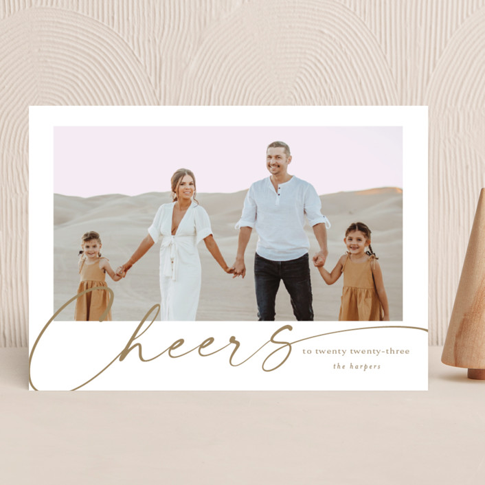 """""""yearly cheers"""" - New Year Photo Cards in Chestnut by Kasia Labocki."""